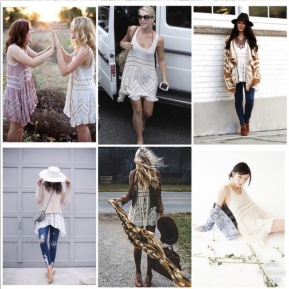 Free People Dresses & Skirts - Free People Trapeze Dress Boho Polka Dots & Lace